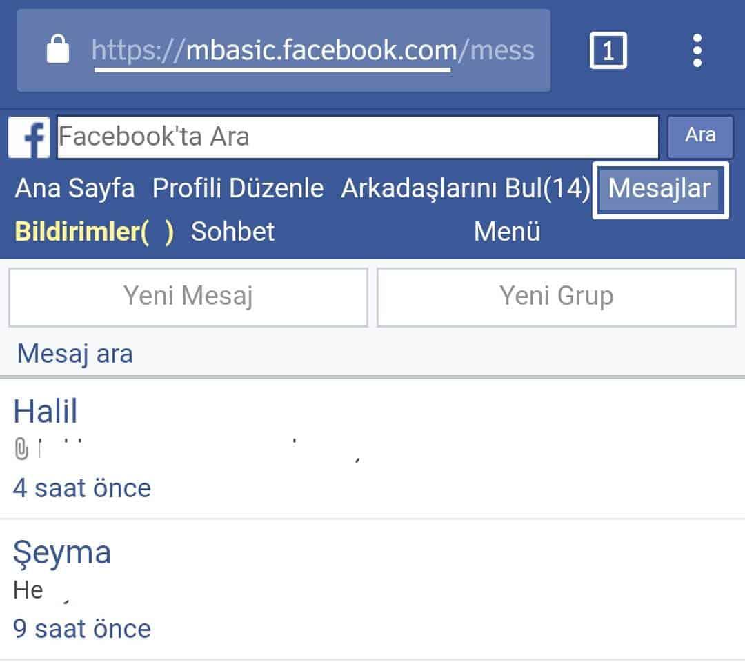 Facebook Messenger Kurmadan Mesajları Açmak