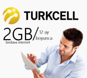 Turkcell 12 Ay Boyunca 2GB Bedava İnternet