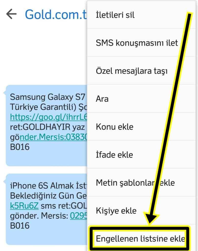 SMS Engellemek