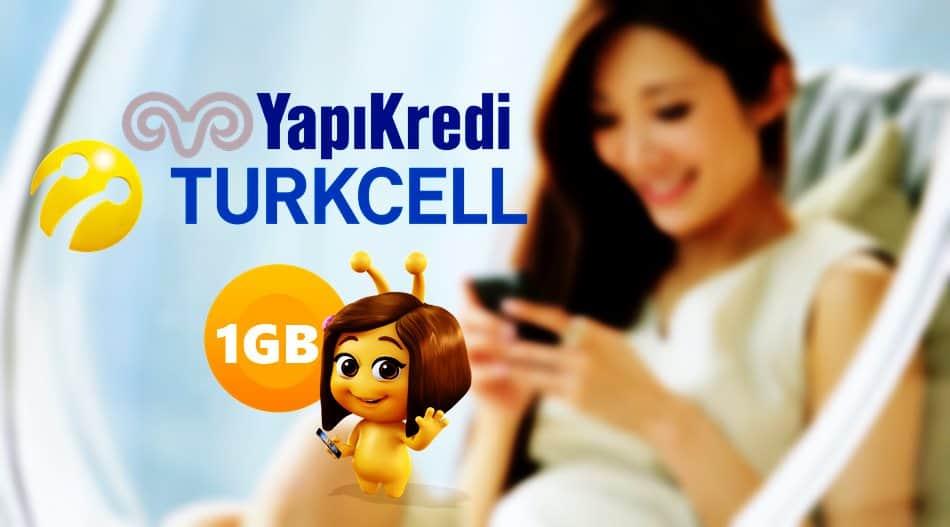 Turkcell Yapı Kredi 1GB Hediye İnternet Paketi